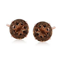 4.80 ct. t.w. Smoky Quartz Stud Earrings in 14kt Rose Gold, , default