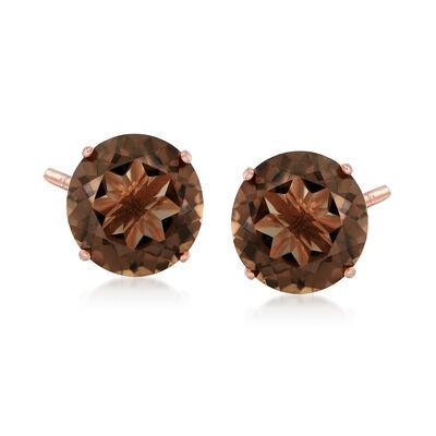 4.80 ct. t.w. Smoky Quartz Stud Earrings in 14kt Rose Gold, , default