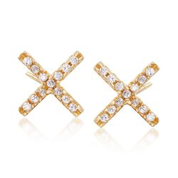 .13 ct. t.w. CZ X Earrings in 18kt Gold Over Sterling, , default