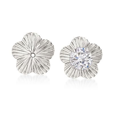14kt White Gold Flower Earring Jackets, , default