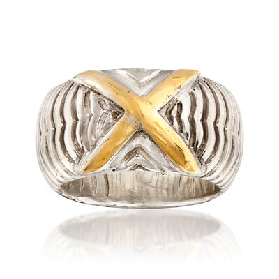 Sterling Silver and 14kt Yellow Gold Ribbed X Ring