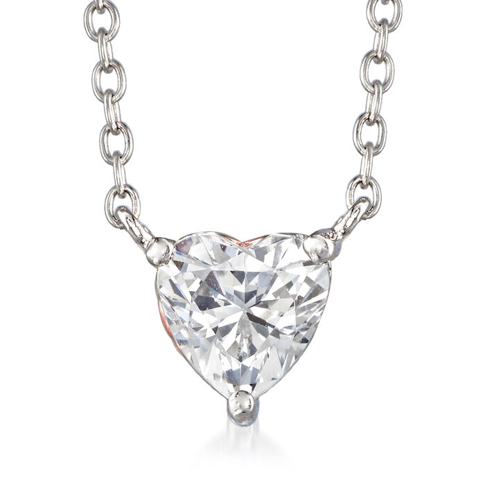 1.51 ct. t.w. Swarovski CZ Heart Necklace in Sterling Silver. 18""