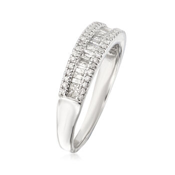 .50 ct. t.w. Baguette and Round Diamond Ring in Sterling Silver