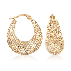 "14kt Yellow Gold Graduated Openwork Hoop Earrings. 7/8"", , default"