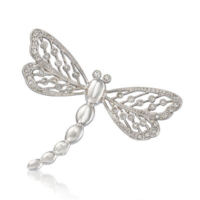 C. 1990 Vintage .25 ct. t.w. Diamond Dragonfly Pin in 14kt White Gold, , default