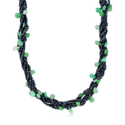 Chrysoprase and Black Spinel Bead Torsade Necklace with 18kt Gold Over Sterling, , default
