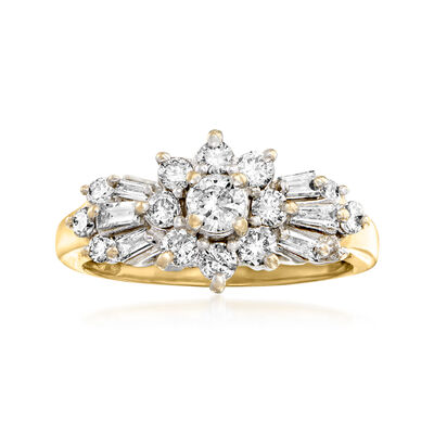 C. 1995 Vintage .50 ct. t.w. Diamond Flower Ring in 14kt Yellow Gold