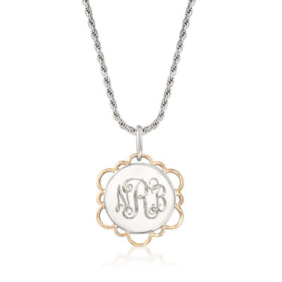 Two-Tone Personalized Disc Pendant Necklace in Sterling Silver and 14kt Yellow Gold, , default