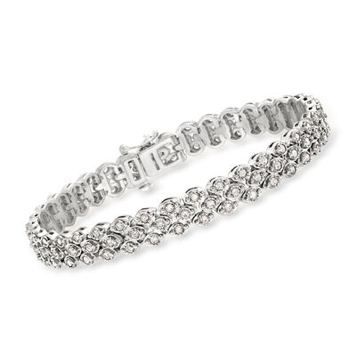 2.00 ct. t.w. Diamond Triple-Row Bracelet in Sterling Silver