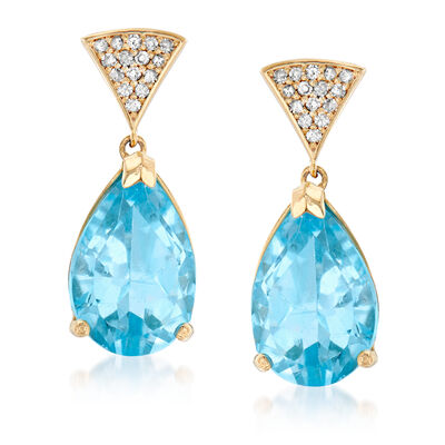 9.00 ct. t.w. Sky Blue Topaz and .15 ct. t.w. Diamond Drop Earrings in 14kt Yellow Gold