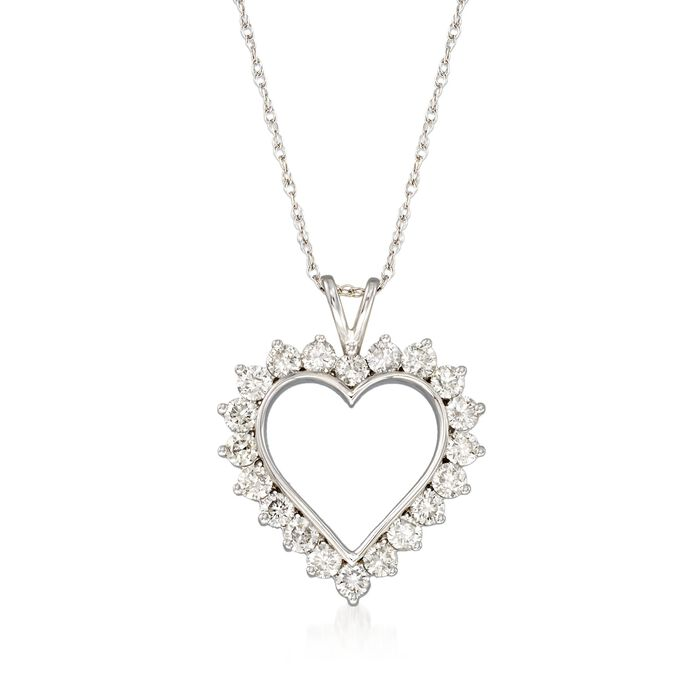 "1.00 ct. t.w. Diamond Open-Space Heart Pendant Necklace in Sterling Silver. 18"", , default"