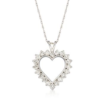 """1.00 ct. t.w. Diamond Open-Space Heart Pendant Necklace in 14kt White Gold. 18"""", , default"""