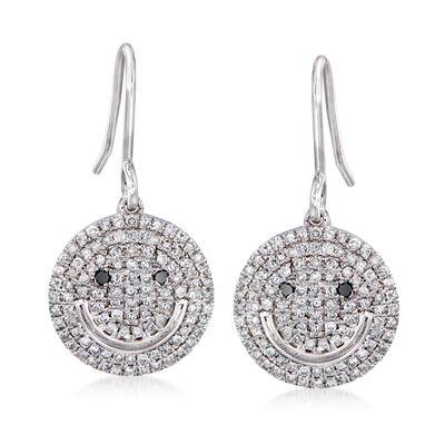 .50 ct. t.w. Diamond Smiley Face Drop Earrings in Sterling Silver