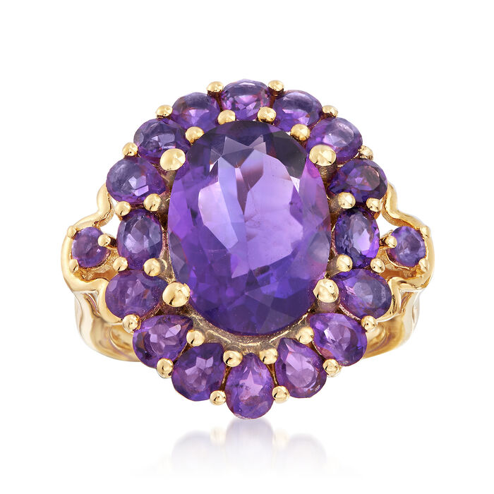 7.00 ct. t.w. Amethyst Ring in 18kt Yellow Gold Over Sterling Silver, , default