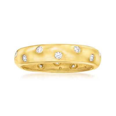 .40 ct. t.w. CZ Sprinkle Ring in 18kt Gold Over Sterling