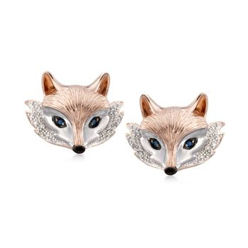 .10 ct. t.w. Sapphire and .10 ct. t.w. Diamond Fox Stud Earrings in Two-Tone Sterling Silver, , default