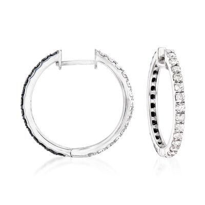 1.00 ct. t.w. Black and White Diamond Hoop Earrings in Sterling Silver, , default