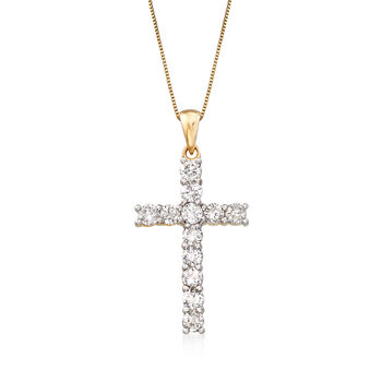 1.00 ct. t.w. Diamond Cross Necklace in 14kt Yellow Gold, , default