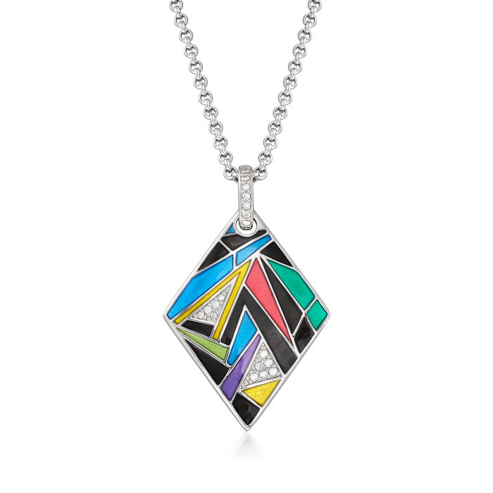 """Belle Etoile """"Chromatica"""" Multicolored Enamel and .19 ct. t.w. CZ Pendant in Sterling Silver, , default"""