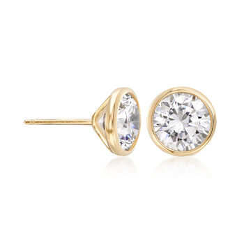 3.00 ct. t.w. Bezel-Set CZ Stud Earrings in 14kt Yellow Gold, , default