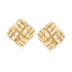 Italian 18kt Yellow Gold Ribbed Square Earrings, , default