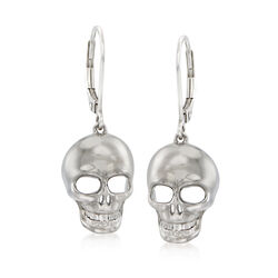 Sterling Silver Skull Drop Earrings, , default