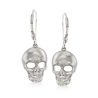 Sterling Silver Skull Drop Earrings, , default