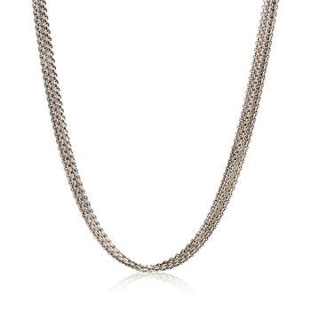 "C. 1990 Vintage 14kt White Gold Five-Strand Cable Chain Necklace. 16"", , default"