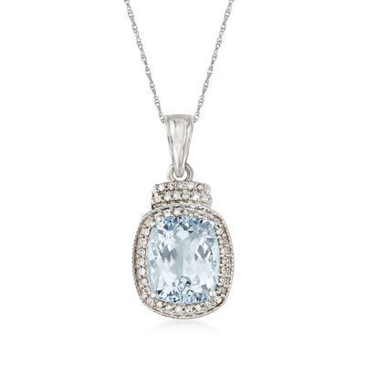 5.00 ct. t.w. Aquamarine and .25 ct. t.w. Diamond Pendant Necklace in 14kt White Gold, , default