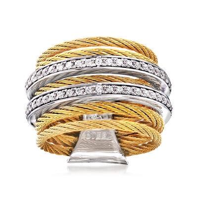 "ALOR ""Classique"" .38 ct. t.w. Diamond Yellow Stainless Steel Cable Ring with 18kt White Gold, , default"