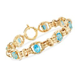 "11.00 ct. t.w. Blue Topaz Twisted Link Bracelet in 14kt Yellow Gold. 7"", , default"