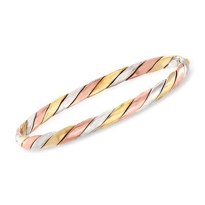 C. 1980 Vintage 14kt Tri-Colored Gold Bangle Bracelet, , default