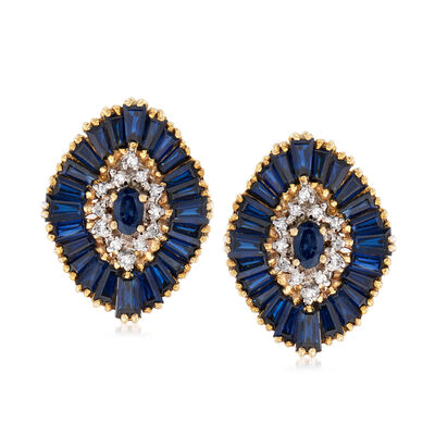 C. 1970 Vintage 8.30 ct. t.w. Sapphire and .25 ct. t.w. Diamond Wavy Earrings in 18kt Yellow Gold, , default