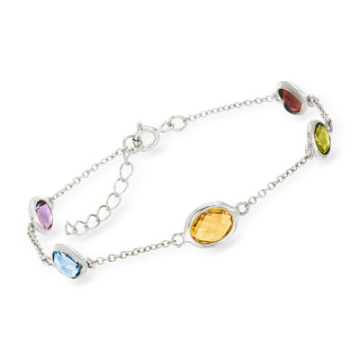 5.50 ct. t.w. Bezel-Set Multi-Gem Station Bracelet in Sterling Silver