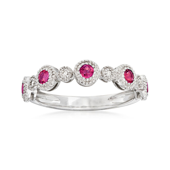 .40 ct. t.w. Ruby Stackable Ring with Diamond Accents in 14kt White Gold, , default