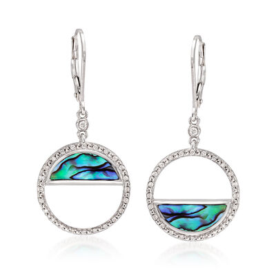 Abalone Shell and .22 ct. t.w. Diamond Circle Drop Earrings, , default