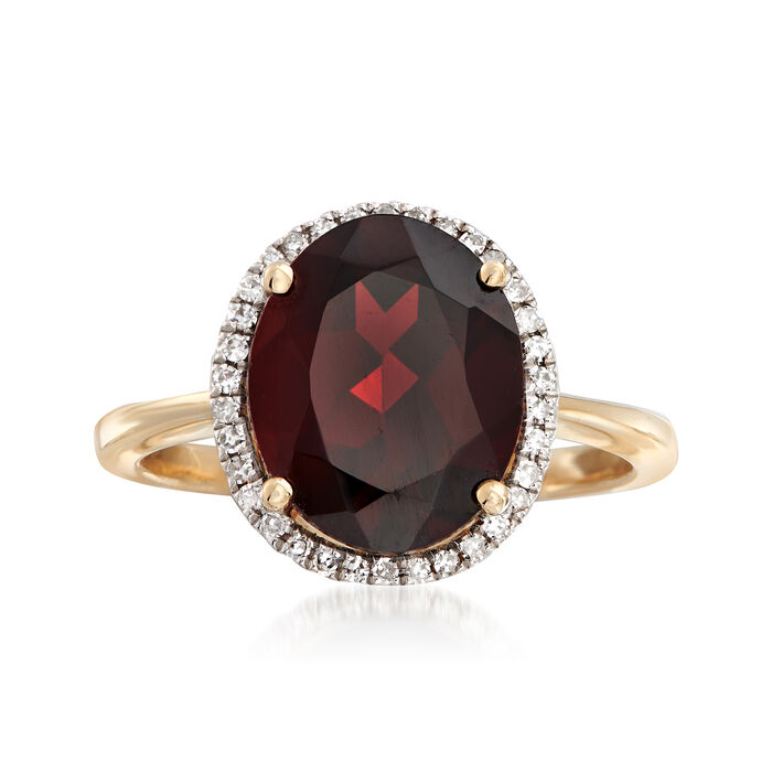 5.25 Carat Oval Garnet and .10 ct. t.w. Diamond Ring in 14kt Yellow Gold, , default
