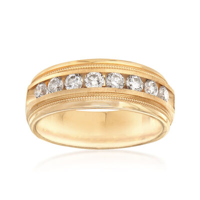 C. 1990 Vintage Men's 1.00 ct. t.w. Channel-Set Diamond Ring in 14kt Yellow Gold, , default