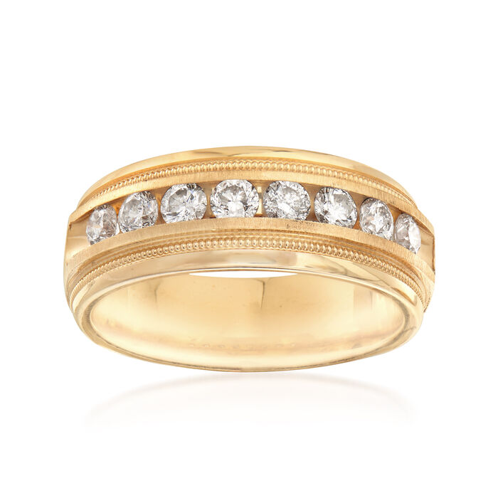 C. 1990 Vintage Men's 1.00 ct. t.w. Channel-Set Diamond Ring in 14kt Yellow Gold. Size 10, , default