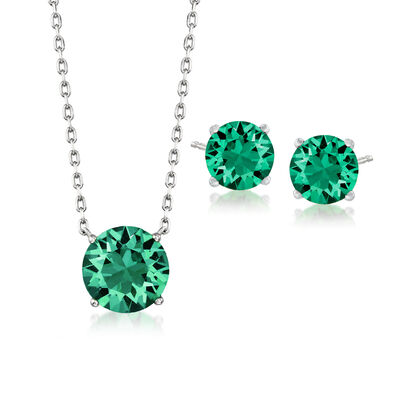 Swarovski Crystal Jewelry Set: Green Necklace and Earrings in Sterling Silver, , default
