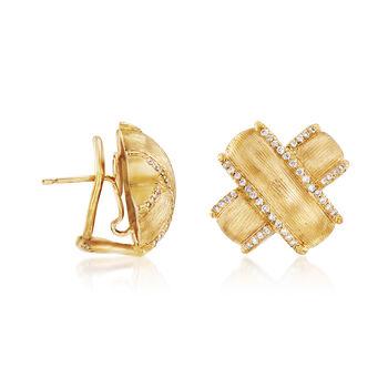 """Mazza .42 ct. t.w. Diamond """"X"""" Earrings in 14kt Yellow Gold. , , default"""