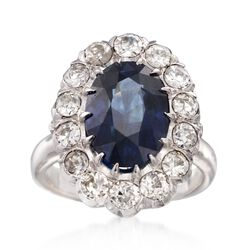 C. 1950 Vintage 5.00 Carat Sapphire and 1.50 ct. t.w. Diamond Ring in 14kt White Gold, , default