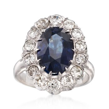 C. 1950 Vintage 5.00 Carat Sapphire and 1.50 ct. t.w. Diamond Ring in 14kt White Gold. Size 6, , default