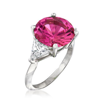 6.25 Carat Simulated Pink Sapphire and 1.50 ct. t.w. CZ Ring in Sterling Silver, , default