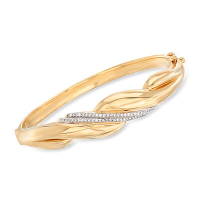.29 ct. t.w. Diamond Sash Bangle Bracelet in 14kt Yellow Gold, , default