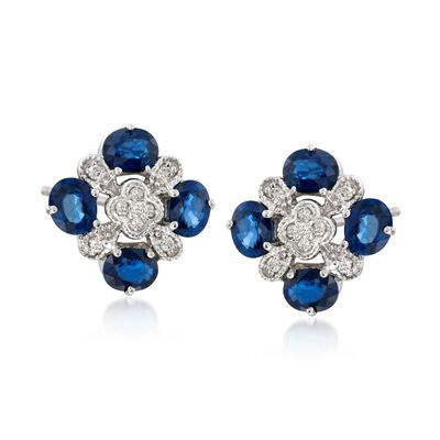 3.10 ct. t.w. Sapphire and .20 ct. t.w. Diamond Fancy Stud Earrings in 14kt White Gold, , default