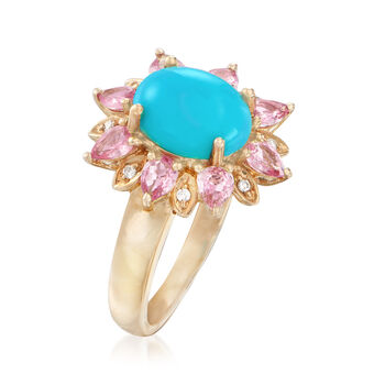 Turquoise and 1.20 ct. t.w. Pink Sapphire Ring with Diamond Accents in 14kt Yellow Gold