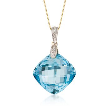 "14.40 Carat Blue Topaz Pendant Necklace With Diamond Accent in 14kt Yellow Gold. 18"", , default"