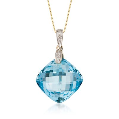 14.40 Carat Blue Topaz Pendant Necklace with Diamond Accent in 14kt Yellow Gold, , default