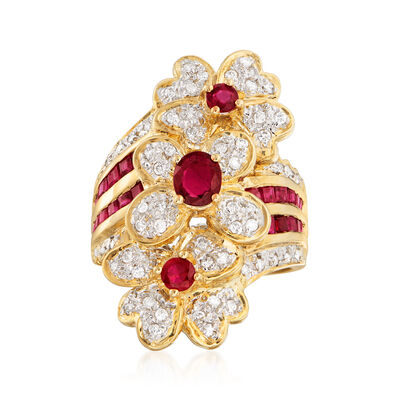 C. 1980 Vintage 1.85 ct. t.w. Ruby and .32 ct. t.w. Diamond Flower Ring in 18kt Yellow Gold